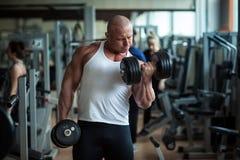 El culturista se ocupa de pesas de gimnasia Imagen de archivo