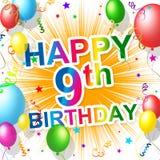 El cumpleaños noveno indica el partido nueve y la felicidad stock de ilustración