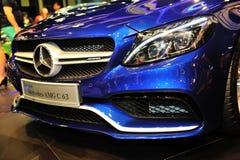 El cupé del CLA de Mercedes-Benz en la exhibición durante el Singapur Motorshow 2016 Imágenes de archivo libres de regalías