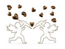 El Cupid tira flechas en los corazones Fotos de archivo libres de regalías