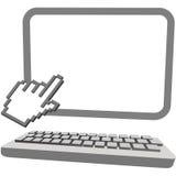 El cursor de la mano hace clic encendido el teclado del monitor del ordenador 3D