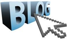 El cursor del pixel de la flecha hace clic encendido la palabra 3D al BLOG GRANDE stock de ilustración