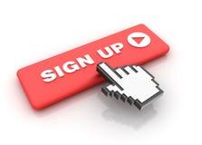 El cursor entrega firma para arriba Imagen de archivo libre de regalías