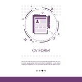 El CV forma la bandera del web de la búsqueda de la vacante del candidato del curriculum vitae con el espacio de la copia ilustración del vector