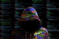 El cybersecurity del pirata informático de la sudadera con capucha coloreó sec de la información del código de ordenador stock de ilustración