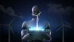 El cyborg del robot abre dos palmas, turbina de viento Energía de Eco stock de ilustración