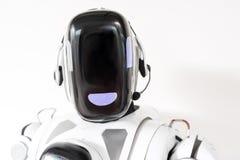 El cyborg elegante está llevando los auriculares con el micrófono Imagen de archivo