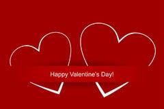 El día de dos tarjetas del día de San Valentín de los corazones Fotos de archivo libres de regalías