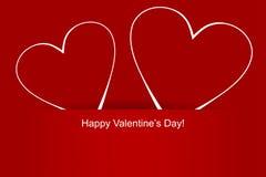 El día de dos tarjetas del día de San Valentín de los corazones Fotos de archivo