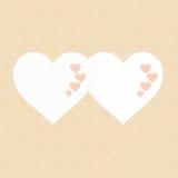 El día de dos tarjetas del día de San Valentín feliz de los corazones fotos de archivo