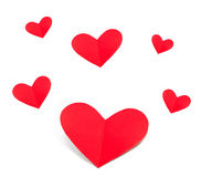 El día de fiesta carda el corazón a partir del día de tarjetas del día de San Valentín de papel aislado Imagen de archivo libre de regalías