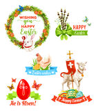 El día de fiesta de Pascua desea el sistema del emblema de la historieta