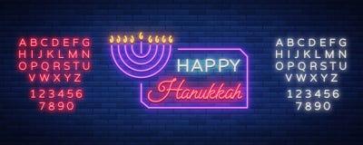 El día de fiesta judío Jánuca es una señal de neón, una tarjeta de felicitación, una plantilla tradicional de Hanukkah Hanukkah f