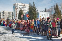 El día de fiesta de Maslenitsa Siberia occidental imagen de archivo
