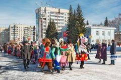 El día de fiesta de Maslenitsa Siberia occidental fotos de archivo libres de regalías