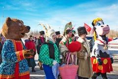 El día de fiesta de Maslenitsa Siberia occidental foto de archivo libre de regalías