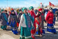 El día de fiesta de Maslenitsa Siberia occidental fotografía de archivo libre de regalías