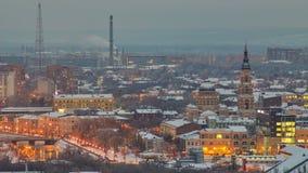 El día de la catedral del anuncio al timelapse de la noche, Kharkov, Ucrania almacen de video