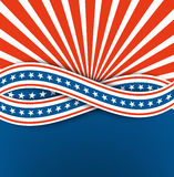 El Día de la Independencia de los E.E.U.U. abstraiga el fondo Cinta azul y blanca con las estrellas Vector eps10 Fotografía de archivo libre de regalías