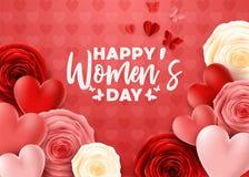El día de las mujeres internacionales felices con las rosas florece y el fondo de los corazones stock de ilustración