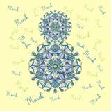 El día de las mujeres internacionales el 8 de marzo, mandala de la primavera, postal libre illustration