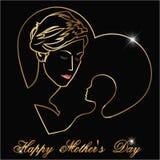 El día de madres feliz, silueta de una madre y niño con la celebración feliz del día de madres del esquema de oro imagenes de archivo