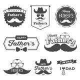 El día de padre feliz etiqueta el logotipo sistema blanco y negro libre illustration