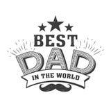 El día de padres feliz cita en el fondo blanco el mejor papá en el mundo Etiqueta de la enhorabuena, vector de la insignia stock de ilustración