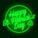 El día de St Patrick feliz - señal de neón verde stock de ilustración