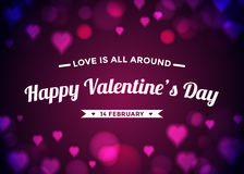 El día de tarjeta del día de San Valentín abstracto del fondo con el bokeh de los corazones Imagen de archivo libre de regalías
