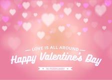 El día de tarjeta del día de San Valentín abstracto del fondo con el bokeh de los corazones en color rosado Imagenes de archivo