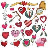 El día de tarjeta del día de San Valentín, amor, boda, decoración de los corazones Fotos de archivo libres de regalías