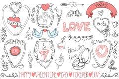 El día de tarjeta del día de San Valentín, casandose marcos, elemento de la decoración Imagen de archivo libre de regalías