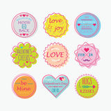 El día de tarjeta del día de San Valentín colorido lindo, etiquetas del amor y sistema de etiquetas Fotografía de archivo