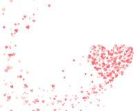 El día de tarjeta del día de San Valentín con los corazones del vuelo imagen de archivo