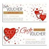El día de tarjeta del día de San Valentín de la cupón del vector del vale de regalo Fotografía de archivo libre de regalías