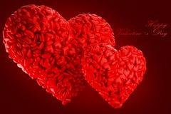 El día de tarjeta del día de San Valentín de los corazones Foto de archivo libre de regalías