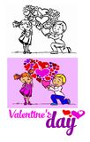 El día de tarjeta del día de San Valentín de los niños, el muchacho da a muchachas porciones de corazones en el día de fiesta de  Imágenes de archivo libres de regalías