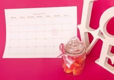 El día de tarjeta del día de San Valentín del santo - 14 de febrero Fotos de archivo libres de regalías