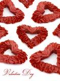 El día de tarjeta del día de San Valentín empluma la decoración del corazón Fotos de archivo libres de regalías