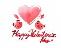 El día de tarjeta del día de San Valentín en acuarela Fotos de archivo libres de regalías