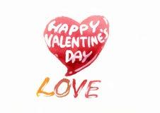 El día de tarjeta del día de San Valentín en acuarela Fotos de archivo