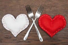 El día de tarjeta del día de San Valentín - extracto - cena romántica Fotos de archivo libres de regalías