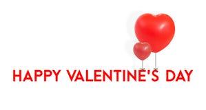 El día de tarjeta del día de San Valentín feliz con el lazo rojo de la forma del corazón del globo en el tipo, L Imagen de archivo libre de regalías