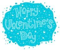 El día de tarjeta del día de San Valentín feliz de la tarjeta azul ilustración del vector