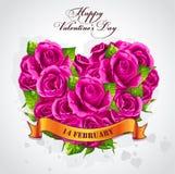 El día de tarjeta del día de San Valentín feliz de la tarjeta de felicitación con un corazón de rosas Imagen de archivo libre de regalías