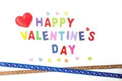 El día de tarjeta del día de San Valentín feliz en blanco Fotos de archivo