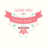 El día de tarjeta del día de San Valentín feliz febrero Imagen de archivo libre de regalías