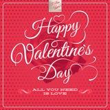 El día de tarjeta del día de San Valentín feliz - letras EPS 10 Foto de archivo libre de regalías