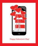 ¡El día de tarjeta del día de San Valentín feliz! Ramo de corazones y de amor de mensajes de texto en móvil/el teléfono celular Imágenes de archivo libres de regalías
